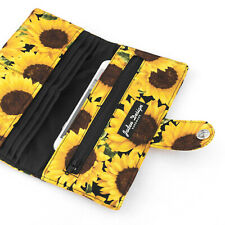 Floral Card Wallet Women Zipper Pocket Fabric iPhone Clutch - Yellow Sunflowers