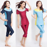 Muslim Islamic Women Modest Swimwear Tops Clothes + Crop Pants Burkini Swimsuit