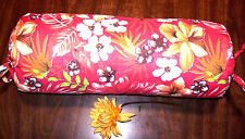 Handmade 6x16 Red Hawaiian Tropical Cotton Blend Neck Roll Bolster Cover w/ Ties
