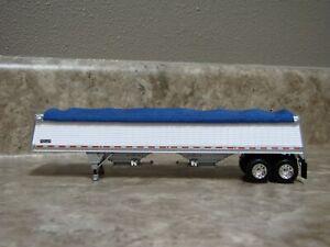 DCP 1/64 Wilson Commander Blue Tarp White Hopper Bottom Grain Trailer Farm Toy
