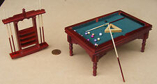 1:12 Scale Wooden Mahogany Pool Table Balls & 6 Cues Dolls House Pub Snooker