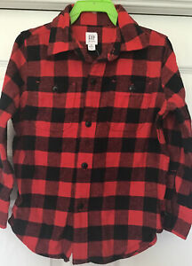 Gap Kids Buffalo Plaid Flannel Shirt XS 4-5 Years Red and Black