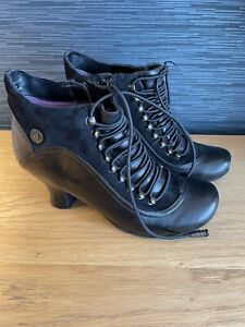 Hush Puppies Vivianna Black Leather Ankle Boots Size 5