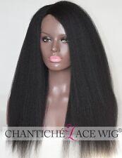 7A Brazilian Hair Italian Yaki Silk Top Deep Parting Lace Front Wigs Black Women