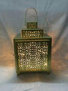 Gold Square Moroccan Lantern Metal Candle Holder