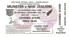 MUNSTER v NEW ZEALAND ALL BLACKS 11 NOVEMBER 1989 RUGBY COMPLETE TICKET