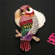Betsey Johnson Charm Brooch Pin Gift New Rainbow Cute Enamel Owl Rhinestone