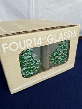 Georges Briard Christmas Tree Frosted 14 oz Double Old Fashioned Glasses (set 4)