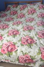 True Vintage 1960's Pink Roses Double Bed Cover Tassels Heavy Cotton Retro