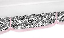 Sweet Jojo Designs Pink Black Sophia Kid Queen Bedding Set Bed Skirt Dust Ruffle