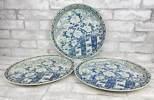 "Vintage Set of 3 Blue and White Serving Tray Tin MING Chrysanthemum Floral 13"""