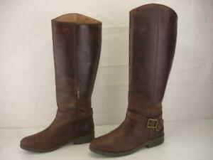 Lucky Brand Women's sz 10 M Karesi Harness Leather Knee-High Boots Brown Leather