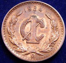 Mexico 1934 1 Centavo ↑ Grade Toned, Key Date Coin, ¡Fecha Clave Y Moneda Bella!