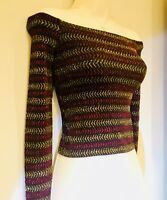 Ladies Topshop Top Size 6 8 10 12 14 Striped Glitter long sleeve Crop  M173
