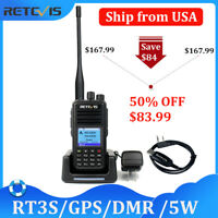 DMR Ham Radio Retevis RT3S GPS Dual Band Walkie Talkie 3000CH(UHF/VHF) 5W VOX