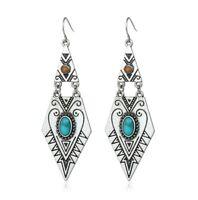 Boho tribal pattern silver & blue turquoise statement geo dangle hook earrings