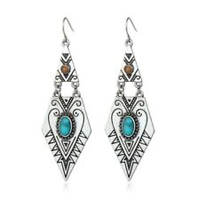 Boho tribal pattern silver & blue turquoise statement geo dangle hook earrings