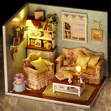 New LED Dollhouse DIY Cabin Happy Family Doll House Dust Guard Christmas Gifts