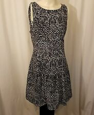 BANANA REPUBLIC MARIMEKKO Tamara Dress Drop Waist Stretch Knit Black & White 12