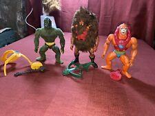 vintage he-man action figures MOSSMAN ,BEASTMAN ,GRIZZLOR See Pictures