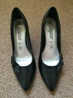 Ladies Black High Heeled Shoes  New Look Upper Leather Pointed Toes Size 4 SB1