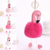 Flamingo Keychain Keyring Handbag Fur Bag Charm Pendant Girl Gift Decorative