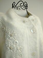 Lee Sands Angora Blend White Plus Button Front Cardigan