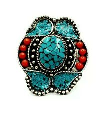 Beautiful Tibetan Turquoise and Coral gemstones Boho ring Nepal Ethnic jewelry
