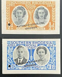 Southern Rhodesia 1947 Unissued Colours Imperf Specimen Punctured Set Superb