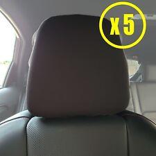 5x Black Polyester Headrest Dust Cover Universal Fitting For Cars SUV Truck Van