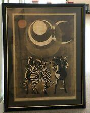 New listing Tadashi Nakayama Limited Edition Framed Print Signed Zebras Safari Scene