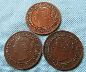 Lot of 3 1859 Canada Queen Victoria Large Cents  - Nice!