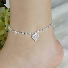 Anklet Ankle Chain Bracelet Jewel A8Y8 Women Lady Crystal Rhinestone Love Heart
