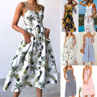 Womens Off Shoulder Strappy Button Midi Swing Party Beach A Line Sun Dress