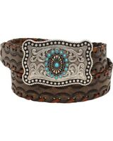 Ariat Women's Brown Lace Stitch Leather Western Belt A1522402