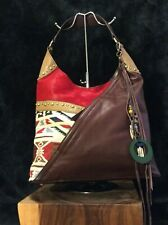 NWT Sharif Tapestry Haircalf and Brown Leather Hobo w Keychain