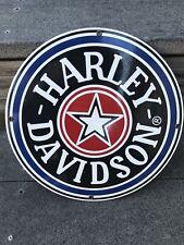 OEM HARLEY DAVIDSON MOTORCYCLE DEALER PORCELAIN METAL GAS FAT BOY  SIGN