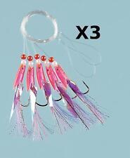 3 Pink Hokki purple Tail Sea Fishing 5 Hook Rig 3/0 Hooks for cod and mackerel