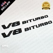 2x Gloss Black V8 BITURBO Side Fender Logo Nameplate Emblem AMG Decoration ABS