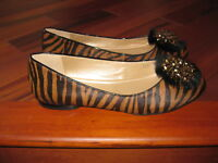 Alex Marie Calf Hair Ballet Flat with Beaded Accent Rabbit Fur Size 10 MED