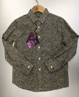 New Boys Age 1-2 Years Olive Green Liberty Print Shirt by Saffron Finch