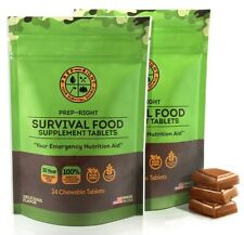 Prep-Right Survival 48 Food Tabs Chocolate Emergency Supplement EXP 2030