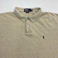 Polo Ralph Lauren Polo Shirt Mens 2XL XXL Tan Short Sleeve 100% Cotton Hi Low