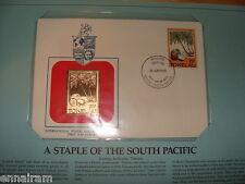 Tokelau Islands FDC w/ 23 kt gold replica Stamp 1985 Coconut Palm