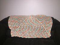 VTG Handmade Crochet Afghan Blanket Throw Granny White Orange Green 60 X 58