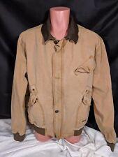 Kakadu Traders Australia Canvas Leather Jacket Brown Mens Size Medium 5B21