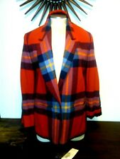 Vtg Pendleton 100% Pure Virgin Wool 2 Button Blazer Women's 10 Plaid Red Navy