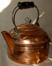 ANTIQUE~Gorgeous GLEAMING REVERE COPPER & BRASS TEA KETTLE w/ LID & BAIL HANDLE