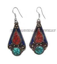 Coral Earring Turquoise Earring Lapis Earring Tribal Earring Silver Earring Yoga