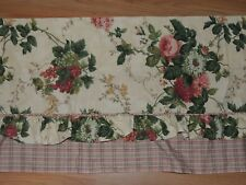 WAVERLY GARDEN ROOM ROSEBERRY TAILORED VALANCE PLAID FLORAL RUFFLE  72 X 17